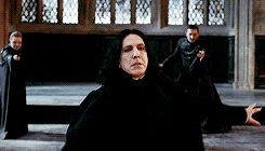 """Snape not only deflects McGonagall's attack but uses it to take down Alecto and Amycus in a single armwave behind his visual field. Like they both had their wands out too but BOY they did not see that coming. Snape knew that he needed to get rid of them before being driven out of the castle so that they wouldn't harm any of the students. Severus Snape everyone, the man who pretended for love."""