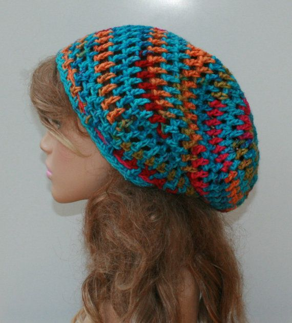 Turquoise multi Slouchy Beanie Snood Hat by PurpleSageDesignz