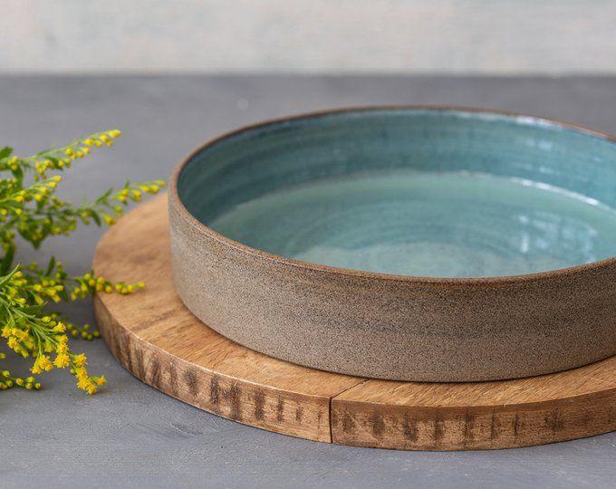 Plateau en céramique turquoise, plat de cuisson de tarte, plat rond, grand plateau, plateau de poterie, plat de service de gâteau en céramique, cadeau pour le père