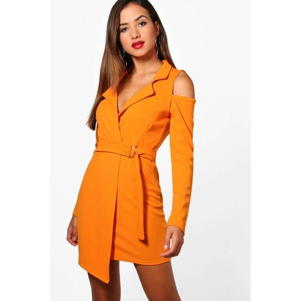 Boohoo Maisie Cold Shoulder Blazer Dress ($24) ❤ liked on Polyvore featuring dresses, body con dress, bodycon mini dress, bodycon maxi dresses, orange bodycon dress and jersey maxi dress