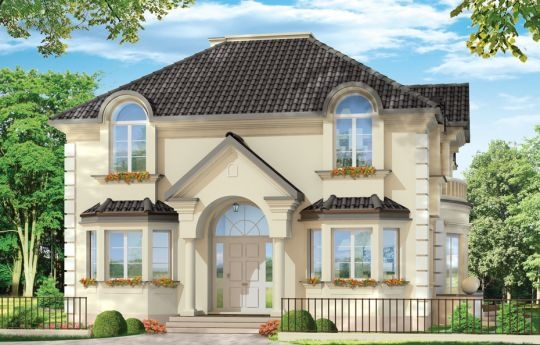 Projekt Ambasador 3 to duży dom jednorodzinny dla 4-6 osób. Projekt domu o klasycznej architekturze, z ciekawymi detalami elewacji. Dom pasuje zarówno na działkę z ogrodem usytuowanym z tyłu jak i z boku. Wnętrze budynku podzielono na cześć dzienną na parterze i sypialnie na poddaszu.