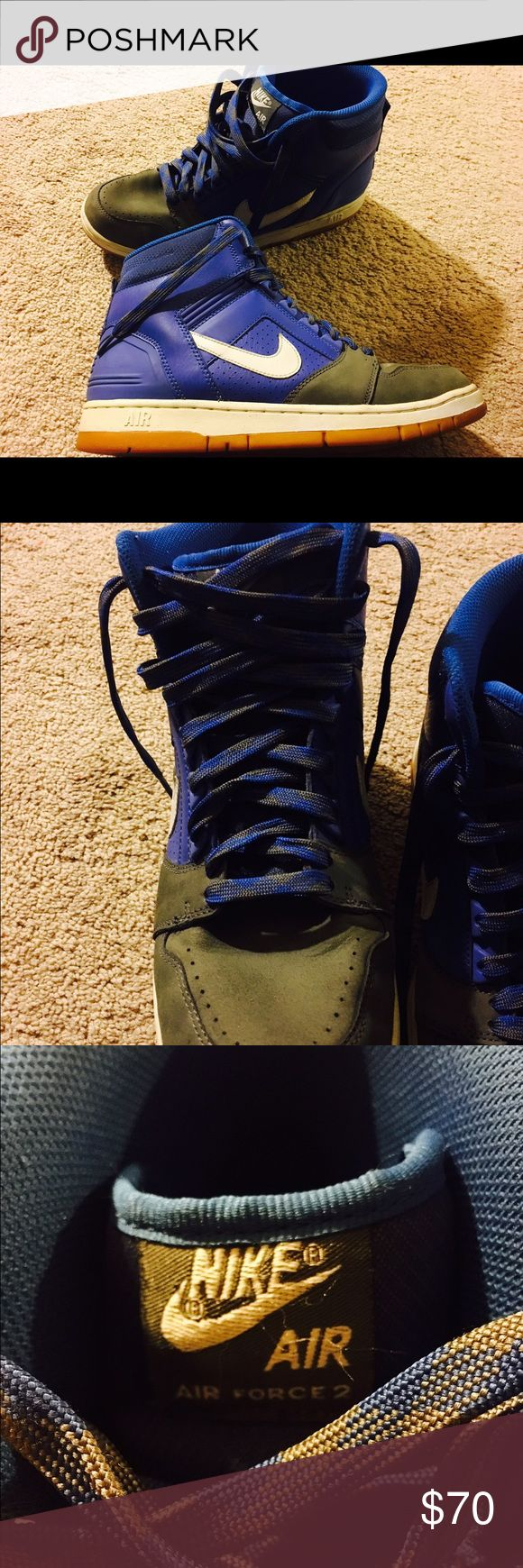 Nike air force 2 GREAT condition In great condition! Only used several times! High tops thick padding around neck. Blue/grey Nike Shoes Athletic Shoes