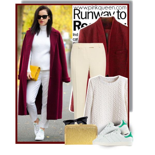 Burgundy coat - pinkqueen.com by anne-mclayne on Polyvore featuring Christopher Kane, adidas, River Island, GetTheLook, StreetStyle, burgundy and PinkQueen