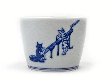 見谷佳則 風龍窯 そばちょこ 猫和食器