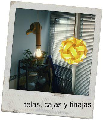 Lámpara hecha con un secador de los años 60
