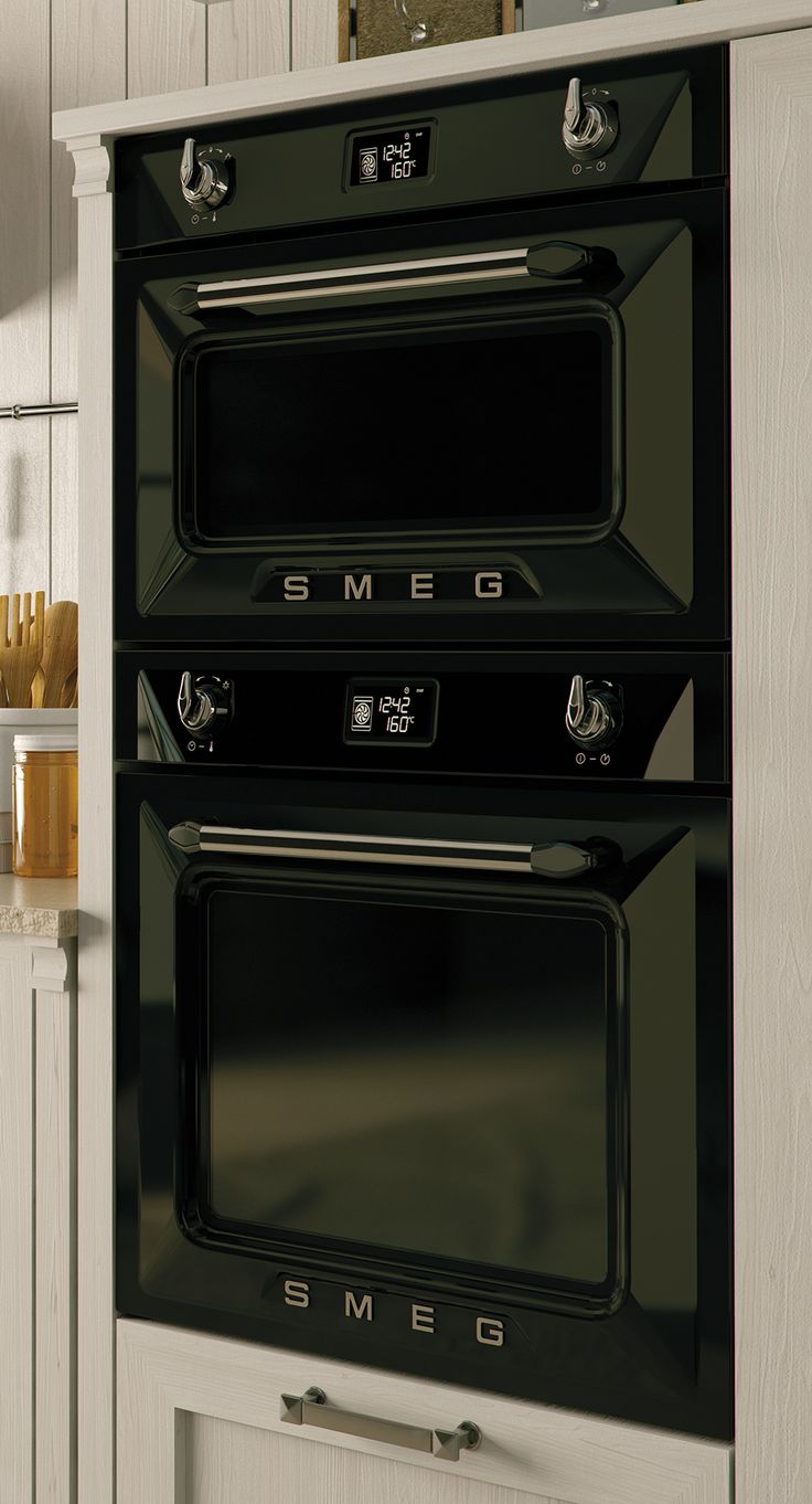 DOSF6920N Black Double Oven | Smeg UK 60cm 'Victoria' traditional Multifunction Double Oven, Black Energy Efficiency Class AA