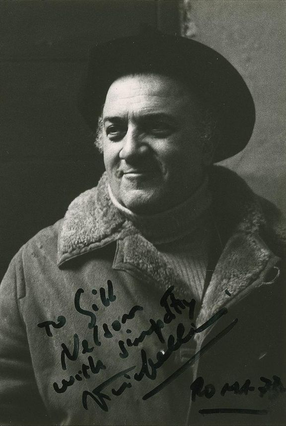Autographed picture by Fellini, 1973, Roma.