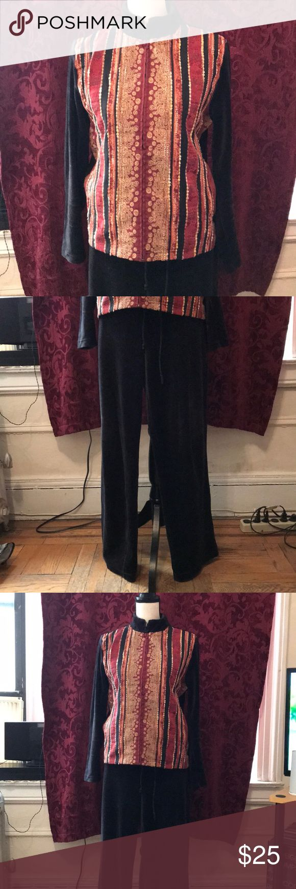 Multiple earth tones, black velour jumpsuit Multiple earth tone  jacket: cotton front black velour back -with velour du jour pants 😊  I've worn this suit  twice  great condition- it's warm & comfy perfect for this chilly     ⛄️🌬weather Coldwater Creek Other