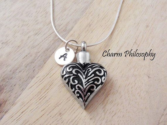Memorial Jewelry Filigree Heart Cremation Necklace Keepsake Jewelry Hollow Heart Pendant Urn Necklace Ashes Necklace