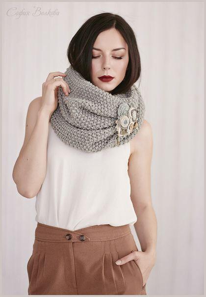 """Шарф """"Серебро полыни"""" - шарф,вязаный шарф,женский шарф,шарф спицами,большой шарф"""
