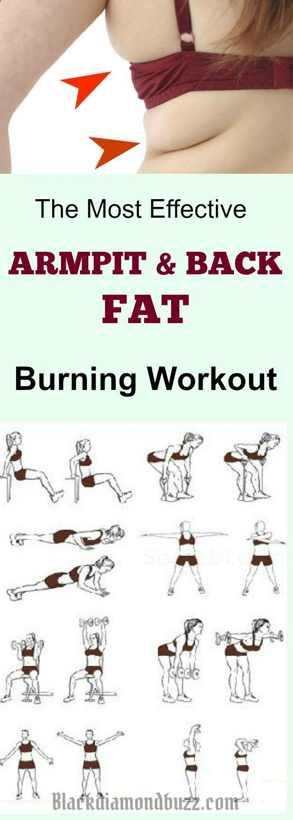 Best exercises for Back fat rolls and underarm fat at Home for Women : This is how you can get rid of back fat and armpit fat fast 1 week this summer . diet workout toned arms #HomeFitness