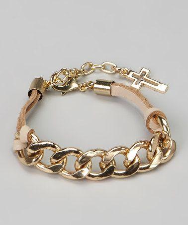 Beige  Gold Cross Chain Link Bracelet #zulily #zulilyfinds