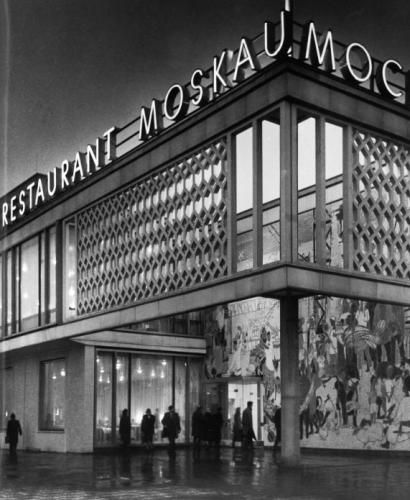 1961-64 Café Moskau | Architects: Josef Kaiser & Horst Bauer | Berlin, Germany      The large mosaic at the entrance is by painter Bert Heller. The Sputnik in original size was a gift from the Ambassador of the USSR. The sign lettering  on the roof was designed by the graphic artist Klaus Witt. - (more pics on  page)