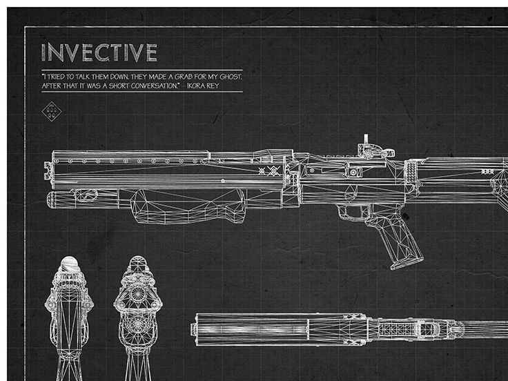 Black Hawkmoon Blueprint, Destiny Exotic Weapon Blueprint, Destiny - new blueprint gun art