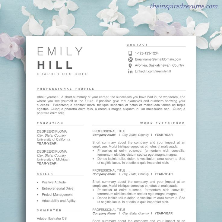 Best Resume Template for Word & Mac Pages 1 2 3 Page