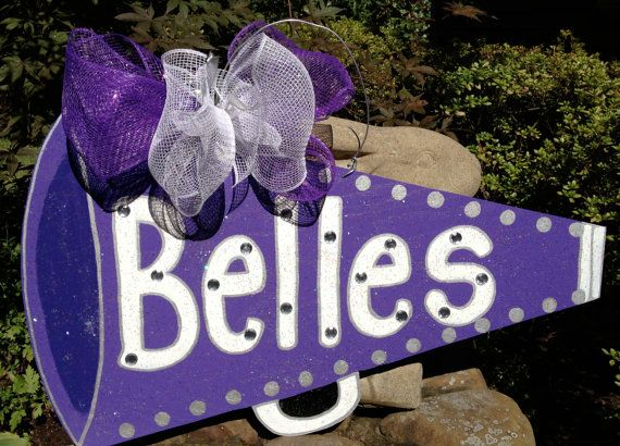 Wooden, Hand Painted Cheerleading Megaphone on Etsy, $40.00
