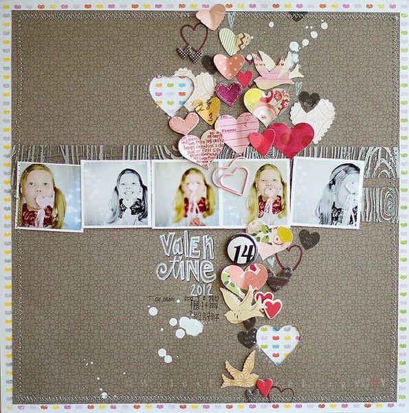 Layout Inspiration: Hearts: Heart Scrapbook, Scrapbook Ideas, Layout Inspiration, Scrapbook Cards, Valentines Scrapbook, Scrapbook Inspiration, Idea Scrapbook, Scrapbook Layout, Scrapbook Pages