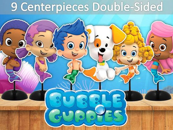 PRINTABLE! 9 BUBBLE GUPPIES CENTERPIECES DOUBLE-SIDED, CAKE TOPPER, BUBBLE GUPPIES PARTY  INSTANT DOWNLOAD  You will get:  SIZE:  -1 pdf included 9 BUBBLE GUPPIES characters -between 9-10 inches tall (BIG) -1 pdf included 9 BUBBLE GUPPIES characters -7 inches tall (SMALL) -BUBBLE GUPPIES Logo  All images are DOUBLE-SIDED  Make one large centerpiece or make individual centerpieces. Or use them as CAKE TOPPER. I recommend using PHOTO or CARDSTOCK paper.  BORDERED/OUTLINED for easier cutti...