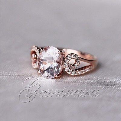 7x9mm 14K Rose Gold Oval Morganite Engagement  Ring  Wedding Ring/ Bridal Ring