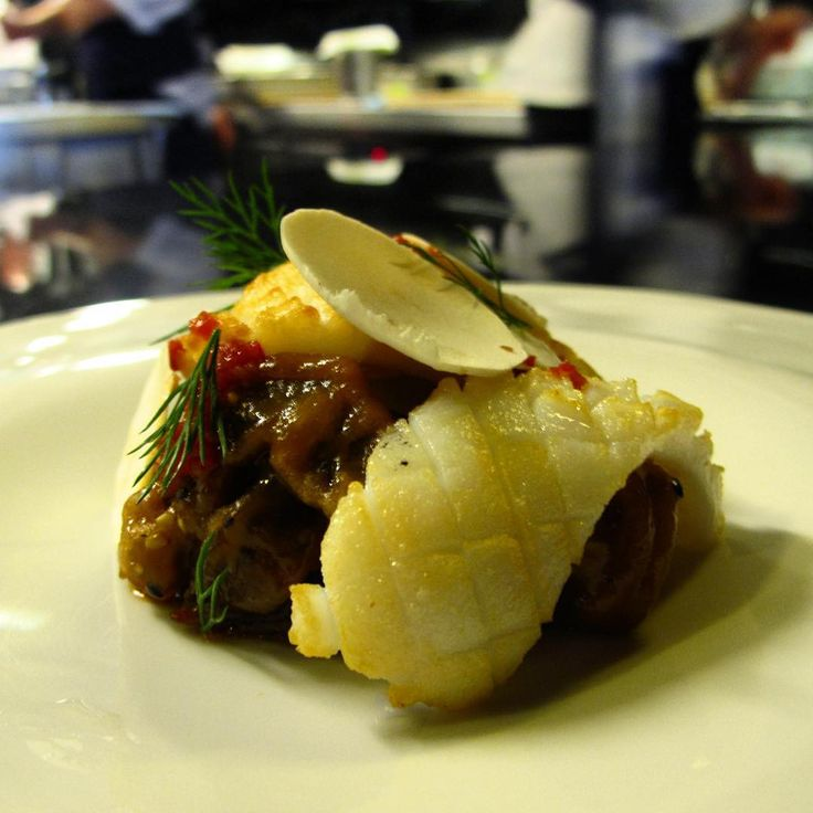 Grilled #calamari with stir fried shiitake braised in a miso and chilli dressing on the pass at #rockpool1989!