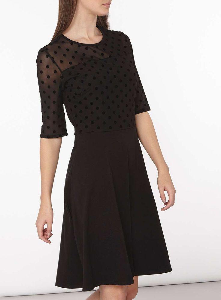 Womens **Tall Black Dobby Mesh Dress- Black