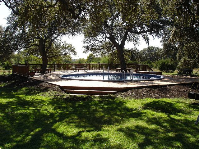 295 best small inground pool spa ideas images on for Above ground pool decks houston tx