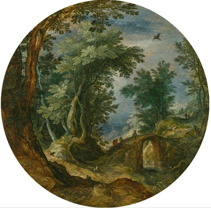 Wooded Landscape with Figures Crossing a Bridge 1598-1600 Oil on oak panel, circular, diameter 21 cm Private collection