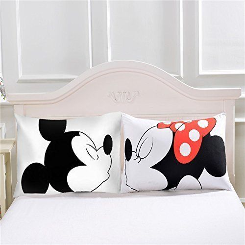 Mickey Mouse Minnie Mr Mrs Pillowcases Home Textile White Couple Pillow Cover Decorative Pillows Case Living Room Mickey Minnie Mouse, Black White Bedding, Mickey Cartoons, Wedding Bed, Living Room Decor Pillows, Deco Originale, Decorative Pillow Cases, Home Textile, Valentine Day Gifts