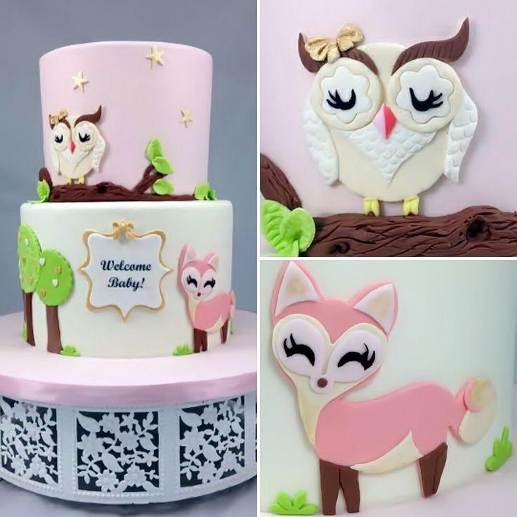 Owl and Fox baby shower cake | Baby Shower Cake ...