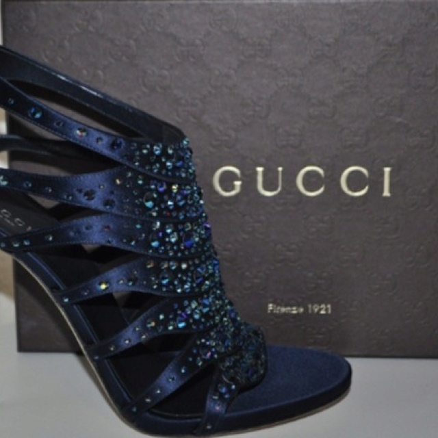 You can't go wrong with these Gucci Blue Satin Caged Sandals with crystal accents