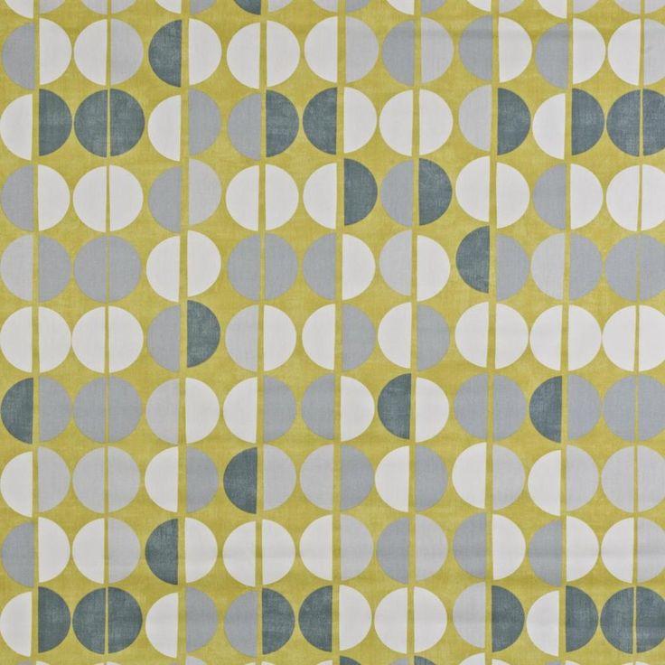 Prestigious Textiles Shoreditch Geometric 100% Cotton Curtain Fabric Grey/Yellow