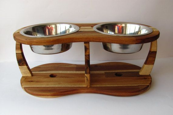 ACACIA TRIPOD decorative natur wood dog bowl dog by Cc2kdesign