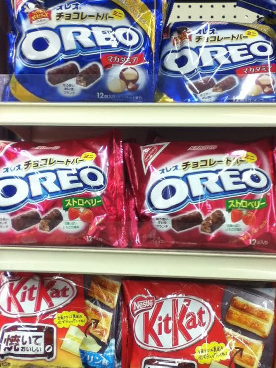 Inside Nijiya Market (Japanese grocery store). Different flavored Oreo's and Kit Kats from Japan.