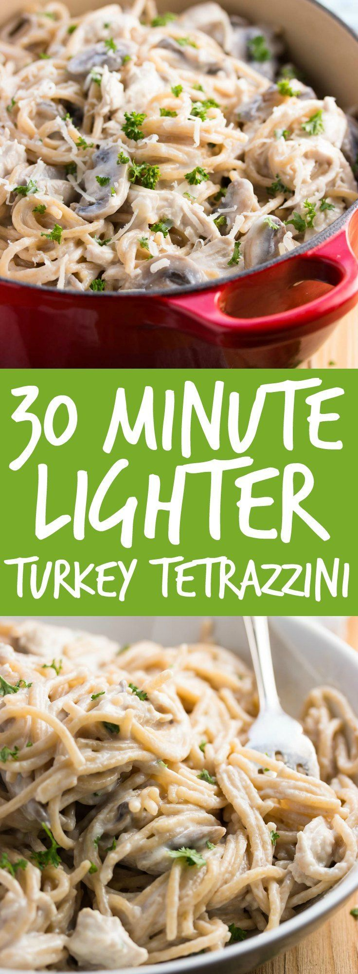 Relax your dinner time with this 30 Minute Healthy Stovetop Turkey Tetrazzini recipe. It's quick and easy to make and is sure to become a new family favorite - plus it makes great use of Thanksgiving or Christmas leftovers! | savorynothings.com