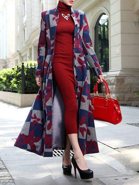 Geometric Jacquard Wool Blend Coat