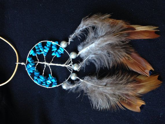 Wire wrapped tree of life dreamcatcher with feathers and turquoise