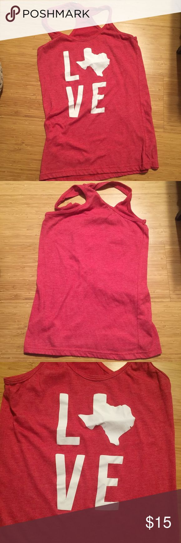 """Texas Love Tank Red tank top with LOVE spelled out but the outline of the state of Texas as the """"O"""" by stateline designs. In good condition! Says Medium but fits more like a small. stateline designs Tops Tank Tops"""