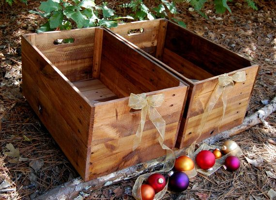 Pair of Large Wooden Crates/ Reclaimed Wood by LooneyBinTradingCo