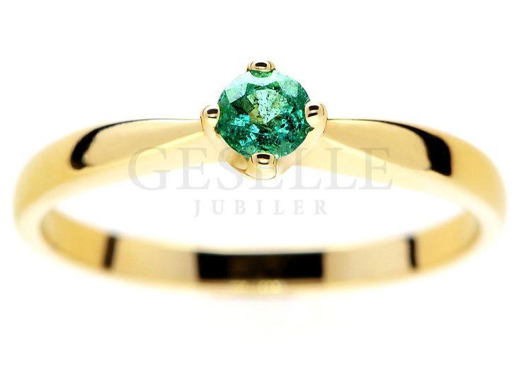 Unikatowy pierścionek zaręczynowy z żółtego złota ze szmaragdem - GRAWER W PREZENCIE | NA PREZENT \ Urodziny PIERŚCIONKI ZARĘCZYNOWE \ Szmaragd naturalny od GESELLE Jubiler