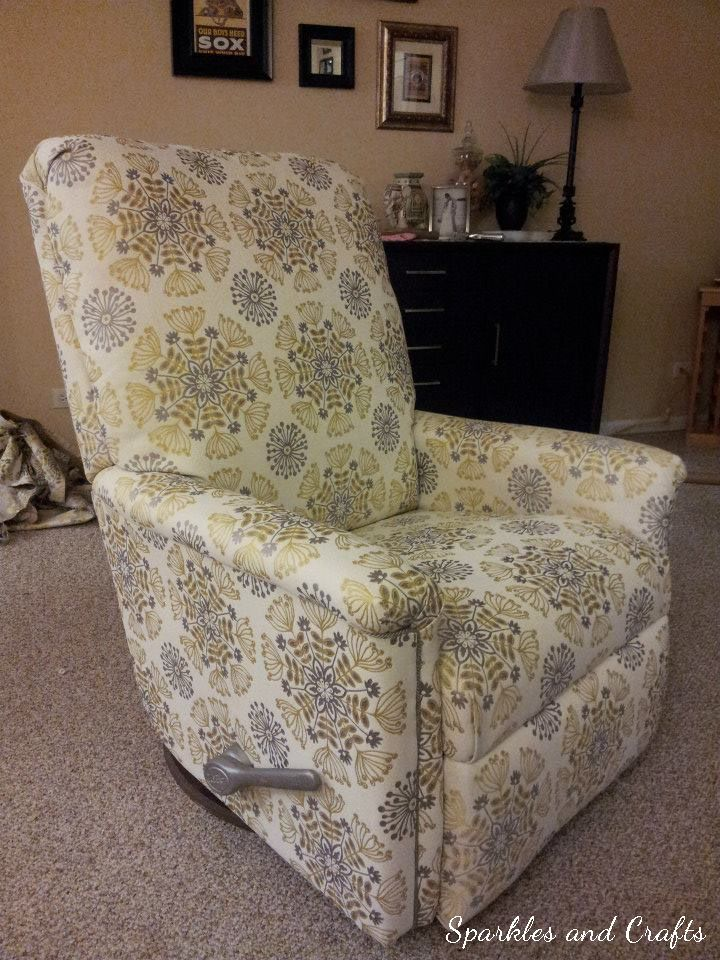 Sparkles & Crafts: Found from a Friend: Recliner Reupholstery