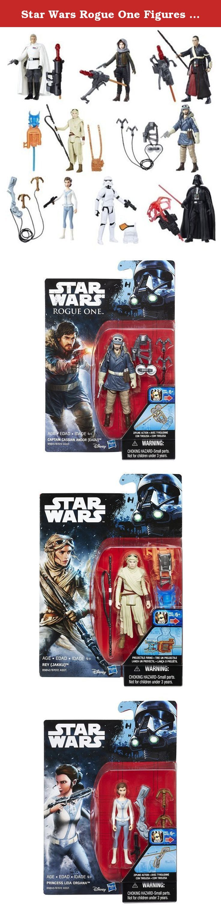 Star Wars Rogue One Figures 2016 Wave 2 Set of 8. Set includes the following figures: Rogue One Chirrut Imwe, Imperial Stormtrooper, Director Krennic, Captain Cassian Andor Eadu, Darth Vader & Sergeant Jyn Erso. Force Awakens Jakku Rey & Rebels Princess Leia Organa. Tour the galaxy with the Star Wars Rogue One 3 3/4-Inch Action Figures Wave 2 Case! Each 3 3/4-inch action figure includes a pair of accessories - or possibly even more - from a galaxy far, far away. Feel disturbances in the...