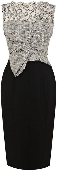 Karen Millen - Graphic Lace and Tweed Shift Dress - Lyst