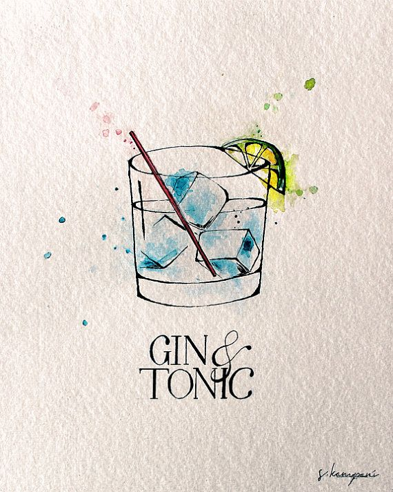 Gin & Tonic Fine Kunstdruck von original Feder und Tinte-Illustration von…