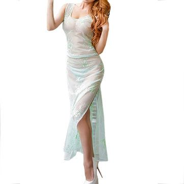 Luxurious Embroidery Mesh See-through Long Nightdress 3 Colors Chemise at Banggood