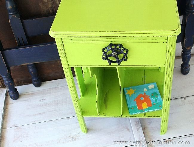 lime green nightstand Petticoat Junktion painted furniture