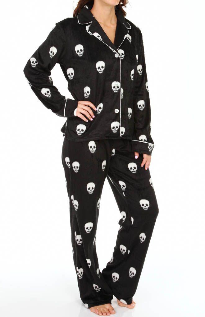 PJ Salvage Plush Polar Skull Print Fleece Pajama Set