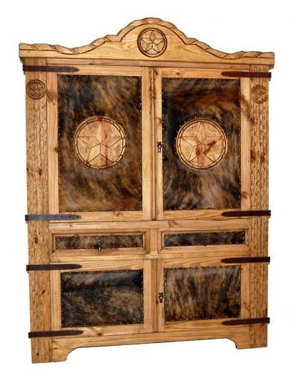 Cowhide Texas Rope Armoire w 2 Drawers
