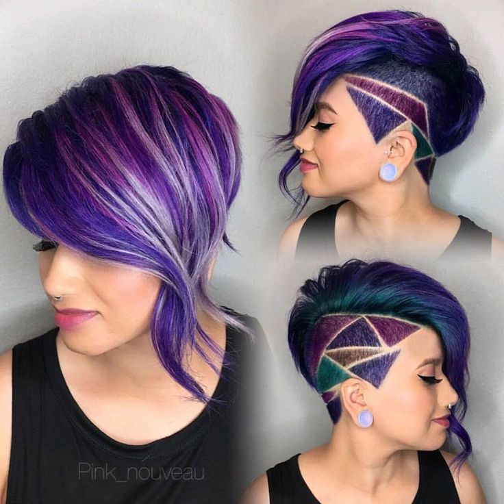Shaved side bob with purple oil slick hair and shaved hair design.