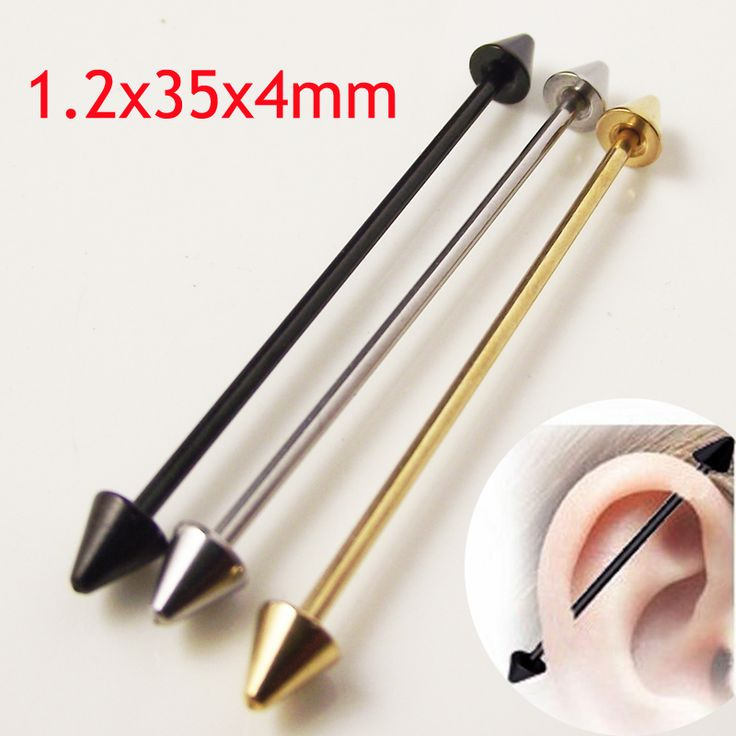 2piece 16G Surgical Stainless Steel 1.2*35*4mm Spike Arrow Industrial Barbell Piercing  Helix Ear Body Jewelry