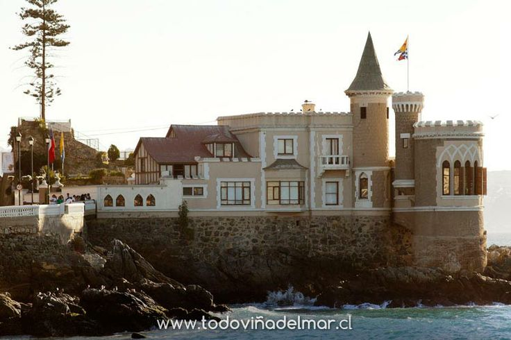 WOLFF CASTLE ~ Vina del Mar, Valparaiso Region, Chile. Built originally in 1908, for Gustavo Wulff. In 1917, he had an architect make it into a castle. A new tower was added, built upon some rocks on the north side of the castle, and a bridge to join them together. In 1959, the city bought the castle. In 1995, it was named a National Historical Monument by the Chiliean Goverment.